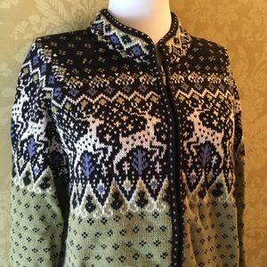 Nordic Style Zip Front Cardigan